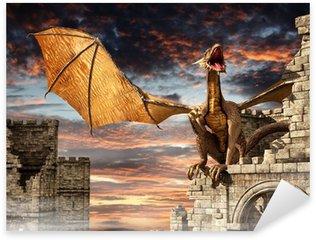 Pixerstick Sticker Draak op kasteel