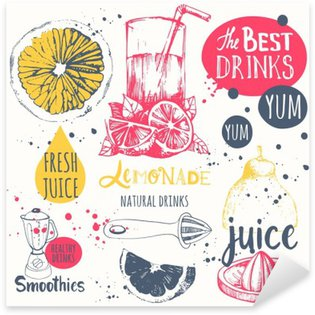Sticker - Pixerstick Drinks in sketch style. Useful natural juices and smoothies.