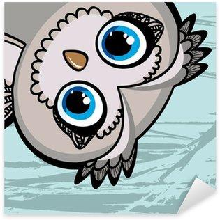 Sticker Pixerstick Drôle de bande dessinée de hibou
