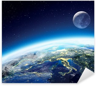 Sticker - Pixerstick Earth and moon view from space at night - Europe