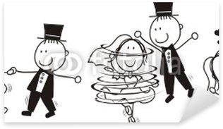 Pixerstick Sticker Eerste dans bruiloft cartoon