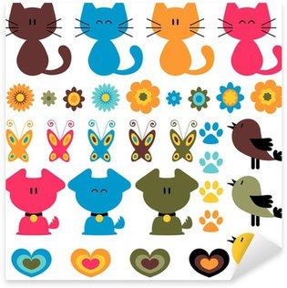 Sticker Pixerstick Éléments enfantins colorés doux fixés