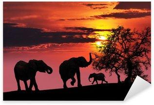 Sticker - Pixerstick Elephant family at sunset