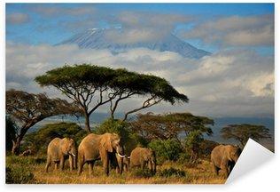 Sticker - Pixerstick Elephant family in front of Mt. Kilimanjaro