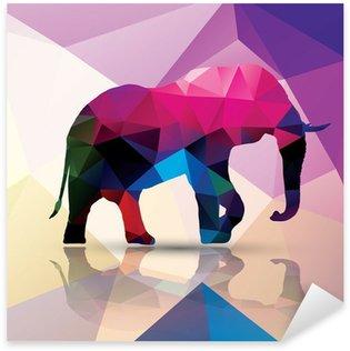 Sticker Pixerstick Éléphant polygonale géométrique, conception de modèle, vecteur