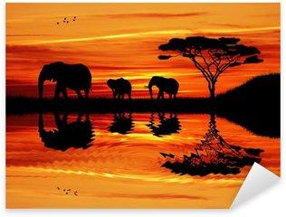 Sticker - Pixerstick Elephant silhouette at sunset