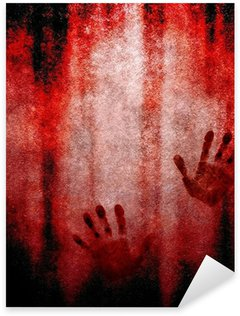 Sticker Pixerstick Empreinte de la main sanglante sur le mur