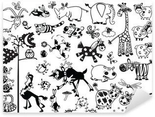 Sticker Pixerstick Ensemble noir et blanc avec des animaux enfantins de dessin animé