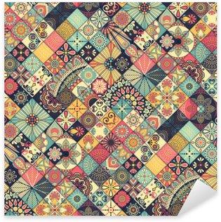 Pixerstick Sticker Etnische bloemen naadloos patroon