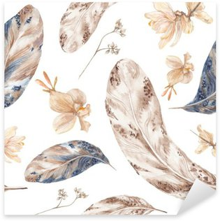 Sticker - Pixerstick Fall Watercolor Pattern with Feathers