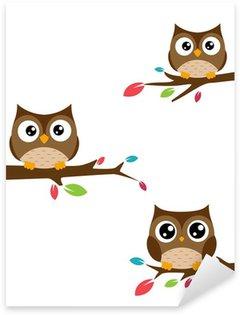 Pixerstick Sticker Familie van uilen zat op een boomtak