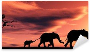 Sticker - Pixerstick family of elephants
