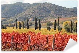 Sticker Pixerstick Fantastique paysage de vignobles toscans à l'automne