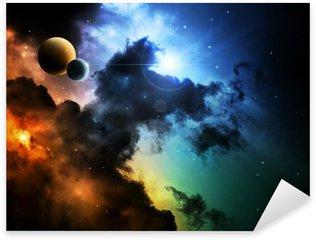 Fantasy deep space nebula with planet Sticker - Pixerstick