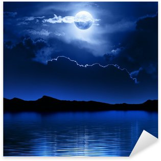 Sticker - Pixerstick Fantasy Moon and Clouds over water