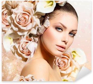 Sticker - Pixerstick Fashion Beauty Model Girl with Flowers Hair. Bride