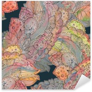 Pixerstick Sticker Fashion naadloze textuur met abstract bloemenpatroon. watercolo