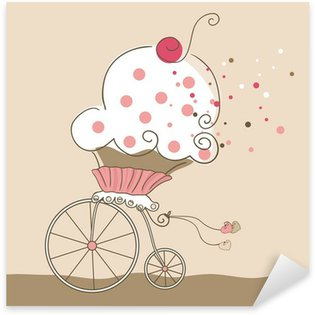 Fast Cupcake Riding on a Bicycle