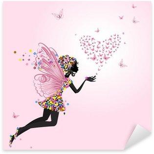 Sticker Pixerstick Fée avec un valentine de papillons