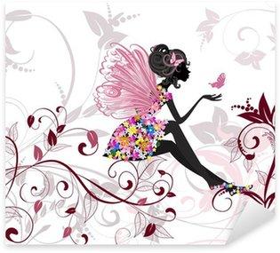 Sticker Pixerstick Fée de fleur avec papillons