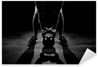 Female Kettle Bell Lift Sticker - Pixerstick