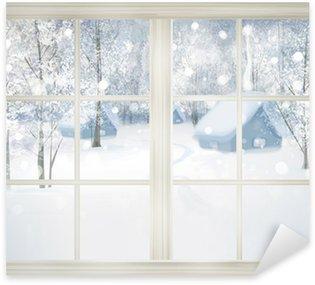 Sticker Pixerstick Fenêtre avec vue sur l'hiver de fond neigeux.
