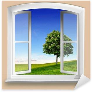 Pixerstick for All Surfaces Fensterblick auf Wiese mit Baum