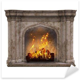 Fire place Sticker - Pixerstick