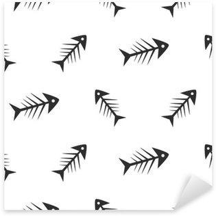 Sticker Pixerstick Fishbone monochrome modèle vectoriel sans soudure. chaotique poissons osseux dessin de textile noir et blanc.