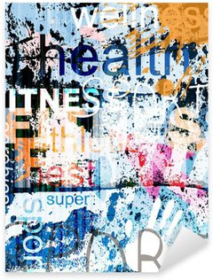 Pixerstick Sticker FITNESS. Word Grunge collage op de achtergrond.