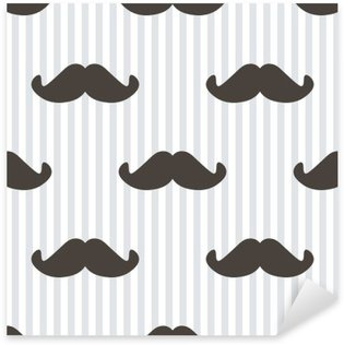 Sticker - Pixerstick Flat design, vector hipster moustache and stripes seamless pattern background.