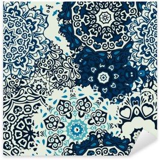Sticker Pixerstick Fleur mandala seamless fond bleu