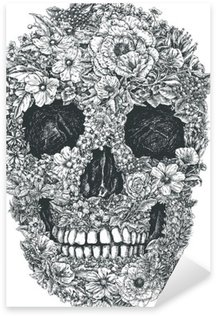 Sticker Pixerstick Fleur Vecteur de crâne