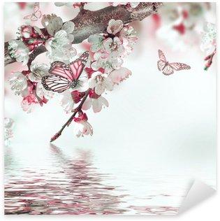 Sticker Pixerstick Fleurs d'abricots au printemps, fond floral