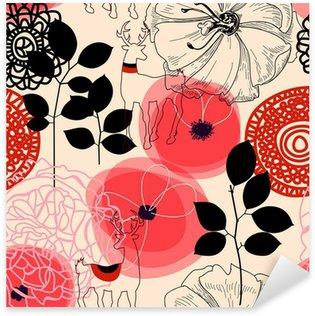 Sticker Pixerstick Fleurs et chevreuils seamless pattern