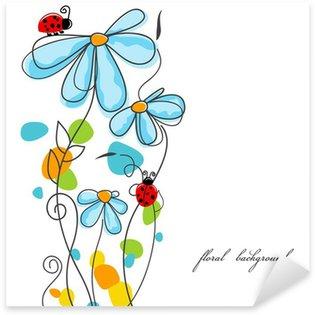 Sticker Pixerstick Fleurs et coccinelles histoire d'amour