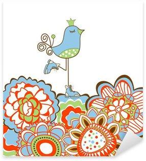 Sticker Pixerstick Fleurs et décoration d'oiseau