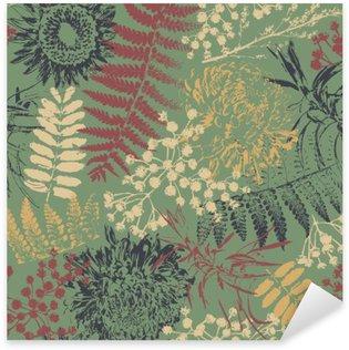Sticker Pixerstick Fleurs grunge et feuilles