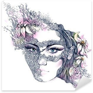 floral decorated face Sticker - Pixerstick