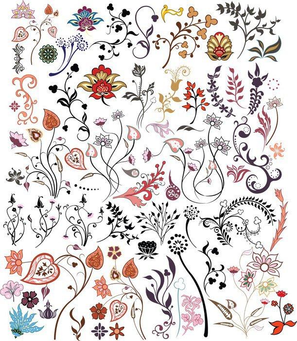 Sticker - Pixerstick floral design elements - Flowers