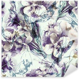 Sticker Pixerstick Floral seamless pattern