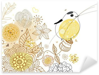 Flower background with a bird Sticker - Pixerstick