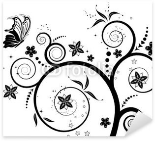 Flower background with butterfly, element for design, vector Sticker - Pixerstick