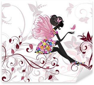 Flower Fairy with butterflies Sticker - Pixerstick