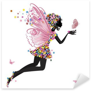Flower Fairy with butterfly Sticker - Pixerstick