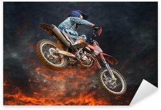 Sticker - Pixerstick Flying motocross rider fire storm