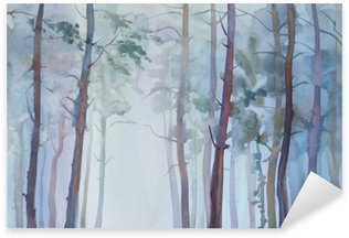 Sticker - Pixerstick Foggy forest watercolor background
