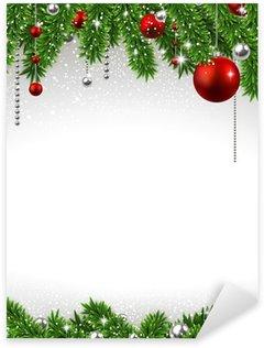 Sticker Pixerstick Fond de Noël avec des branches de sapin et de boules.
