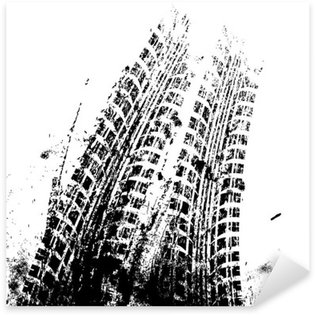 Sticker Pixerstick Fond grunge avec piste de pneu noir, vecteur