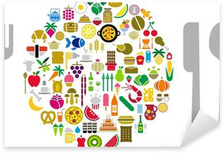 Sticker - Pixerstick Food and beverage icons in form of sphere with silverware